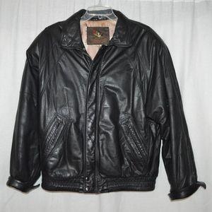 Dinno Gallucci Mens Leather Bomber Jacket Black